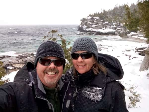 winter hike at the Grotto